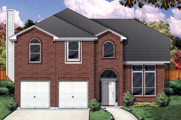 Traditional House Plan 88679 with 4 Beds, 3 Baths, 2 Car Garage Elevation