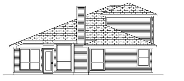 Traditional House Plan 88682 with 4 Beds, 3 Baths, 2 Car Garage Rear Elevation