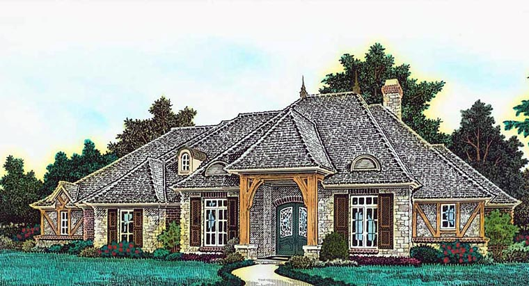 Country, French Country House Plan 89401 with 4 Beds, 5 Baths, 4 Car Garage Elevation