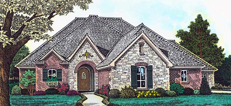 Country, European, French Country House Plan 89408 with 4 Beds, 3 Baths, 3 Car Garage Elevation