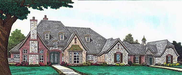European, French Country, Tudor House Plan 89413 with 4 Beds, 5 Baths, 4 Car Garage Elevation