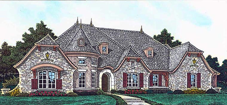 European, French Country House Plan 89414 with 4 Beds, 4 Baths, 4 Car Garage Front Elevation