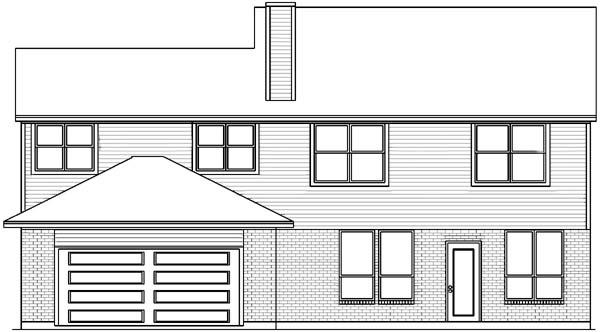 European House Plan 89832 with 5 Beds, 4 Baths, 2 Car Garage Rear Elevation