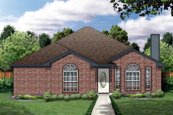 Narrow Lot, One-Story, Traditional House Plan 89883 with 3 Beds, 2 Baths, 2 Car Garage Front Elevation