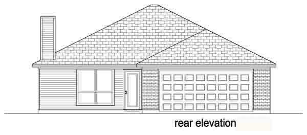 Narrow Lot, One-Story, Traditional House Plan 89883 with 3 Beds, 2 Baths, 2 Car Garage Rear Elevation