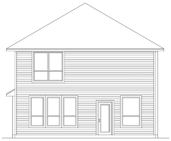Traditional House Plan 89903 with 4 Beds, 3 Baths, 2 Car Garage Rear Elevation