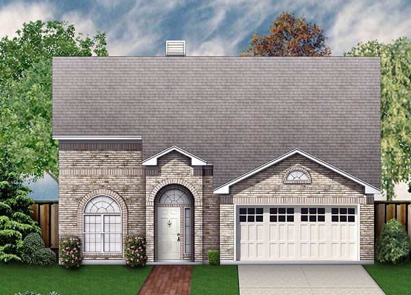 European, Narrow Lot, Traditional House Plan 89946 with 4 Beds, 3 Baths, 2 Car Garage Elevation