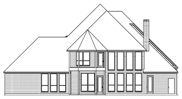 European, Tudor House Plan 89963 with 4 Beds, 4 Baths, 3 Car Garage Rear Elevation