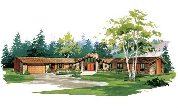 Contemporary, One-Story, Ranch, Retro House Plan 90204 with 3 Beds, 3 Baths, 2 Car Garage Elevation