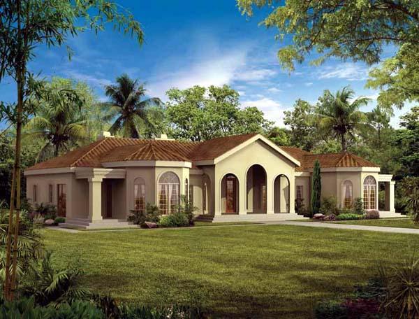 Mediterranean House Plan 90209 with 4 Beds, 3 Baths, 3 Car Garage Front Elevation