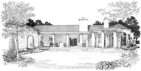 Mediterranean House Plan 90209 with 4 Beds, 3 Baths, 3 Car Garage Rear Elevation