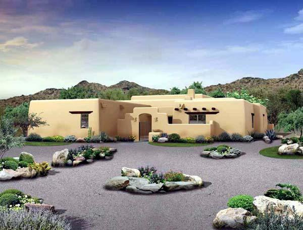 Santa Fe, Southwest House Plan 90231 with 4 Beds, 3 Baths, 2 Car Garage Elevation