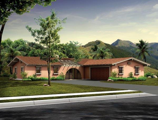 Mediterranean, Ranch, Santa Fe, Southwest House Plan 90240 with 3 Beds, 3 Baths, 2 Car Garage Front Elevation
