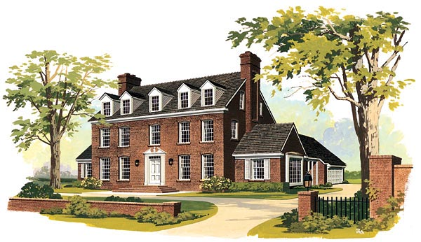 Colonial House Plan 90246 with 4 Beds, 3 Baths, 2 Car Garage Elevation