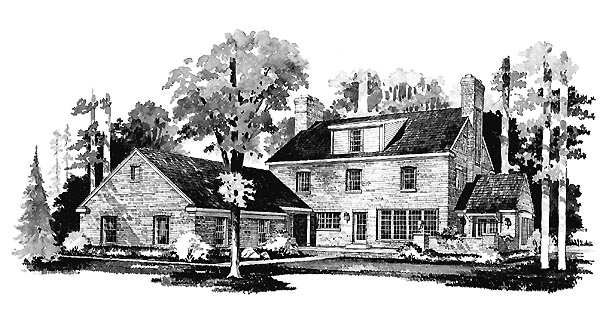 Colonial House Plan 90246 with 4 Beds, 3 Baths, 2 Car Garage Rear Elevation