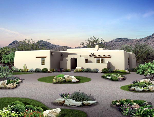Santa Fe, Southwest House Plan 90259 with 3 Beds, 3 Baths, 2 Car Garage Elevation