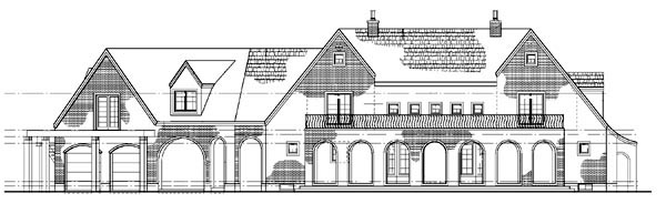 European, Traditional House Plan 90266 with 5 Beds, 5 Baths, 2 Car Garage Rear Elevation