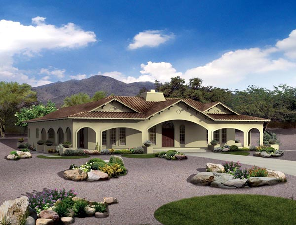 Mediterranean, Ranch, Southwest House Plan 90269 with 4 Beds, 4 Baths Elevation