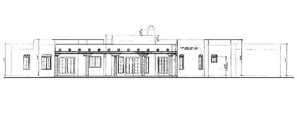 Santa Fe, Southwest House Plan 90273 with 3 Beds, 3 Baths, 3 Car Garage Rear Elevation