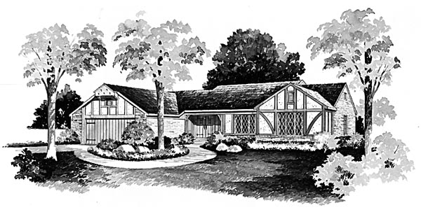 One-Story, Ranch House Plan 90276 with 3 Beds, 3 Baths Elevation