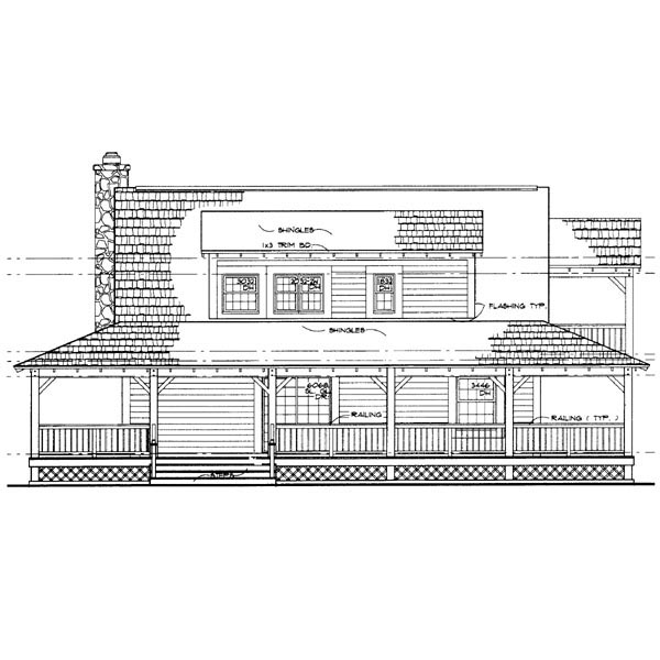 Country, Farmhouse House Plan 90280 with 3 Beds, 2 Baths Rear Elevation