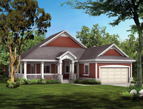 Cottage, Country, Ranch House Plan 90282 with 2 Beds, 2 Baths, 2 Car Garage Front Elevation