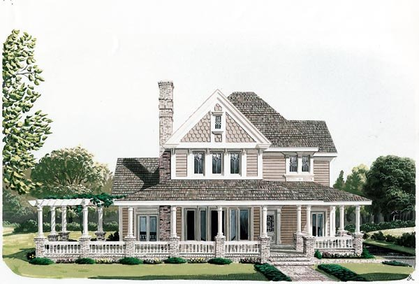 Country, Farmhouse, Victorian House Plan 90331 with 4 Beds, 3 Baths, 2 Car Garage Front Elevation