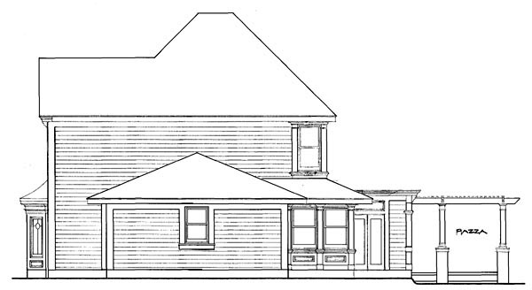 Country, Farmhouse, Victorian House Plan 90331 with 4 Beds, 3 Baths, 2 Car Garage Rear Elevation