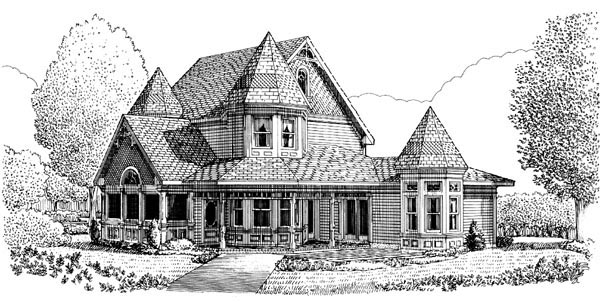 Contemporary, Country, Farmhouse, Victorian House Plan 90342 with 3 Beds, 3 Baths, 2 Car Garage Rear Elevation