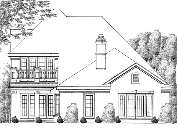 Contemporary, European House Plan 90353 with 2 Beds, 4 Baths, 2 Car Garage Rear Elevation