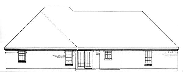 European, One-Story, Traditional House Plan 90361 with 3 Beds, 2 Baths, 2 Car Garage Rear Elevation