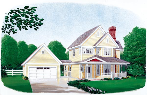Country, Farmhouse, Narrow Lot House Plan 90388 with 3 Beds, 3 Baths, 2 Car Garage Elevation