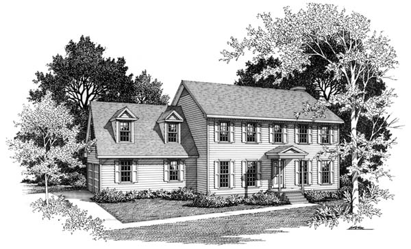 Colonial House Plan 90449 with 3 Beds, 3 Baths, 2 Car Garage Elevation