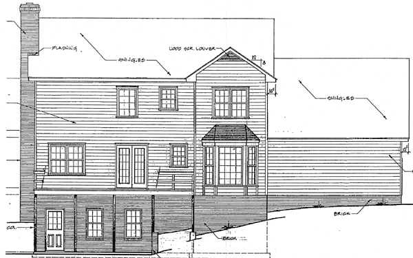 Colonial House Plan 90449 with 3 Beds, 3 Baths, 2 Car Garage Rear Elevation