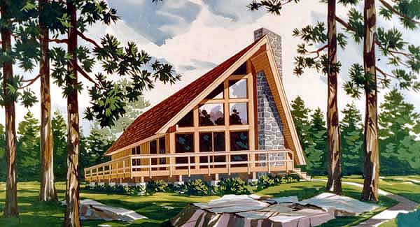 A-Frame, Cabin, Contemporary House Plan 90603 with 3 Beds, 2 Baths Elevation