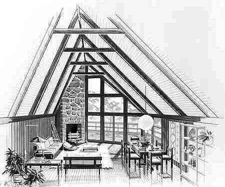 A-Frame, Cabin, Contemporary House Plan 90603 with 3 Beds, 2 Baths Picture 3