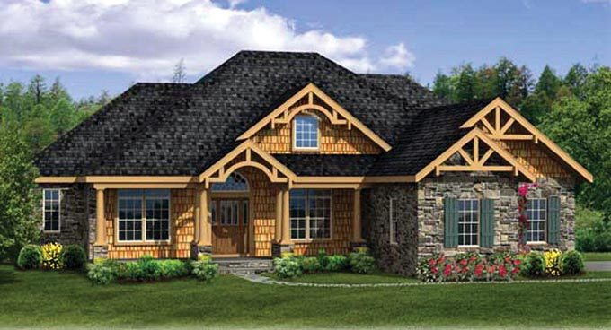 Country, Craftsman, Ranch House Plan 90607 with 4 Beds, 4 Baths, 3 Car Garage Front Elevation