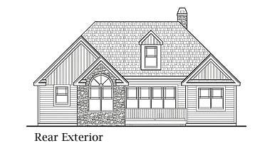 Country, Farmhouse, Ranch, Southern House Plan 90655 with 3 Beds, 2 Baths, 1 Car Garage Rear Elevation