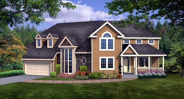 Country, Craftsman, Farmhouse House Plan 90666 with 4 Beds, 3 Baths, 2 Car Garage Front Elevation