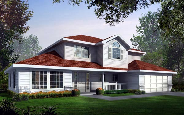 Country, Traditional House Plan 90708 with 4 Beds, 3 Baths, 2 Car Garage Front Elevation