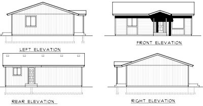 Cabin, Ranch House Plan 90756 with 2 Beds, 1 Baths Rear Elevation