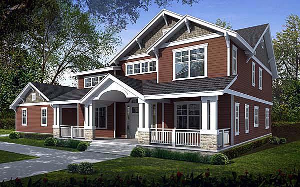 Craftsman House Plan 90757 with 5 Beds, 3 Baths, 2 Car Garage Elevation
