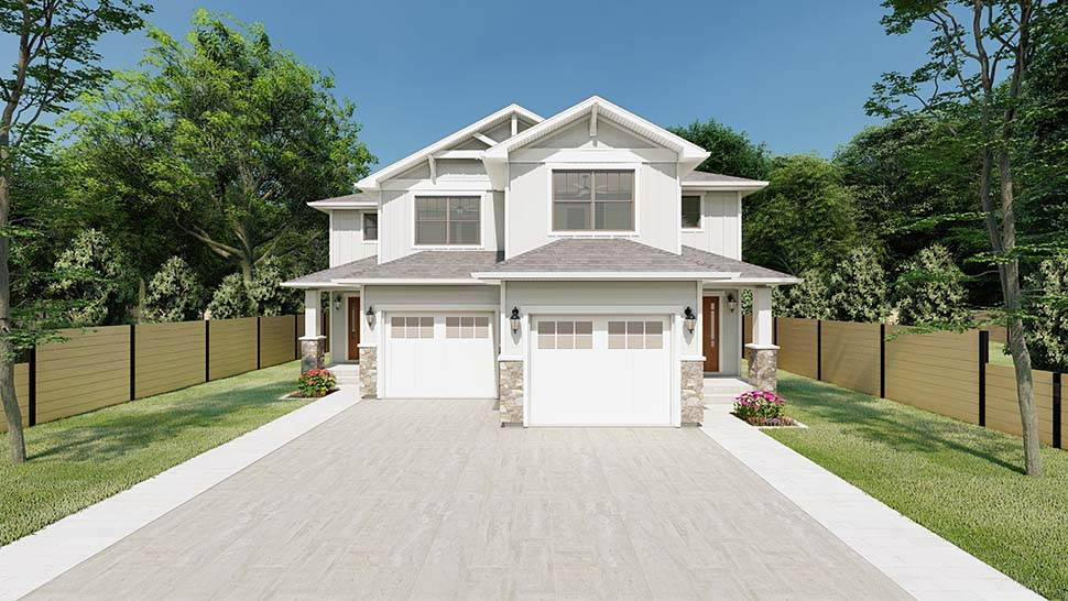 Craftsman Multi-Family Plan 90811 with 6 Beds, 6 Baths, 2 Car Garage Picture 3