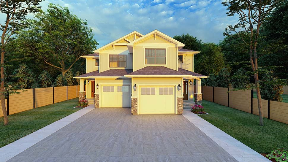 Craftsman Multi-Family Plan 90811 with 6 Beds, 6 Baths, 2 Car Garage Picture 4