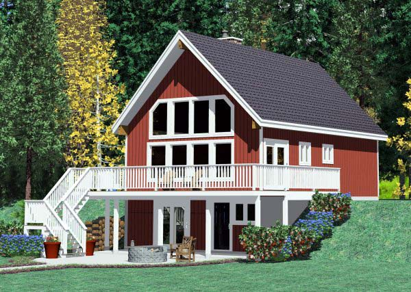 Cabin, Country House Plan 90822 with 3 Beds, 2 Baths Picture 1
