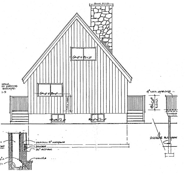 Cabin, Country House Plan 90822 with 3 Beds, 2 Baths Rear Elevation