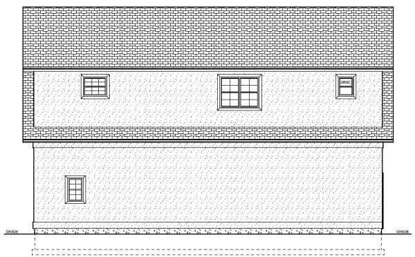 3 Car Garage Apartment Plan 90833 with 1 Beds, 2 Baths Rear Elevation