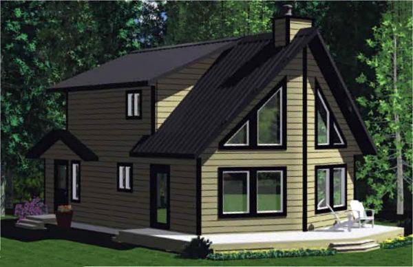Cabin, Contemporary House Plan 90859 with 3 Beds, 2 Baths Elevation