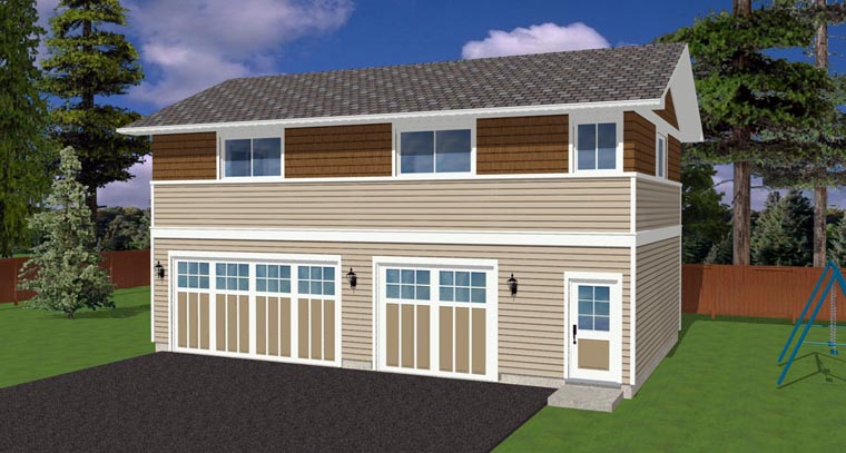 3 Car Garage Plan 90881 Elevation