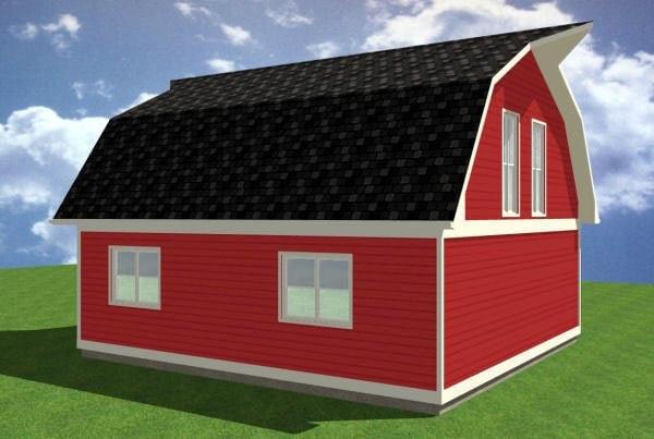 1 Car Garage Apartment Plan 90884 with 1 Beds, 1 Baths Rear Elevation